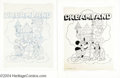 Original Comic Art:Covers, Walt Disney Studios - Mickey Mouse Dreamland Magazine CoverOriginal Art (undated). Mickey and Pluto play the part of knight...(Total: 2 items Item)