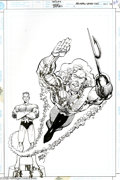 Original Comic Art:Covers, Erik Larson - Aquaman Secret Files #1 Cover Original Art (DC,1998). Old and new incarnations of Aquaman share the cover hon...