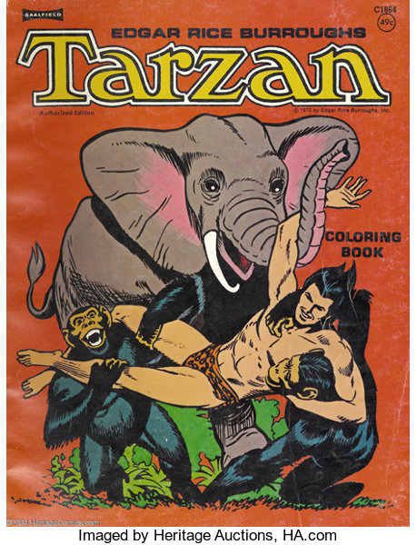 Russ Manning Tarzan Coloring Book Color Guide Cover Saalfield