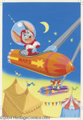 Original Comic Art:Covers, Frank McSavage - Walter Lantz's Space Mouse Coloring Book Cover Original Art (Saalfield, 1962). Space Mouse relaxes in a Mar... (Total: 3 items Item)