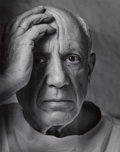 Photographs, Arnold Newman (American, 1918-2006). Pablo Picasso, 1954. Gelatin silver, printed later. 9-3/4 x 7-3/4 inches (24.8 x 19...
