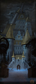 Animation Art:Painted cel background, Beauty and the Beast Production Vertical Pan Background (Walt Disney, 1991)....