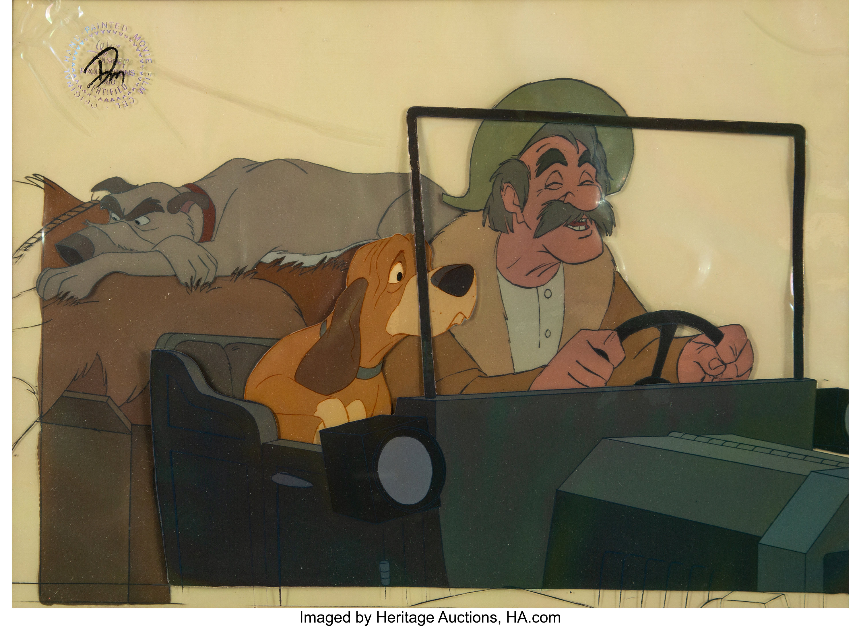 Amos Slade Fox And The Hound 2 The Fox And The Hound Amos Slade Production Cel With Signed Mat Lot 63758 Heritage Auctions https comics ha com itm animation art production cel the fox and the hound amos slade production cel with signed mat walt disney 1981 a 7216 63758 s