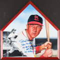 Autographs:Others, 2002 Stan Musial Signed & Inscribed Original Artwork Home Plate....