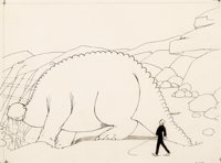 Winsor McCay Gertie the Dinosaur Animation Drawing Original Art (1914)