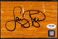 1946-99 Larry Bird Signed Boston Garden Parquet Floor Section with 1984 Star Co. Signed Card