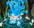 Animation Art:Concept Art, Mary Blair Alice in Wonderland Tulgey Wood Signpost Concept Painting (Walt Disney, 1951)....