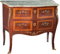 A Louis XV-Style Gilt Bronze Mounted Parquetry Petit Commode with Green Marble Top, late 20th century 30 x 36 x 17