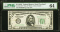 Fr. 1959-D* $5 1934C Wide Federal Reserve Note. PMG Choice Uncirculated 64