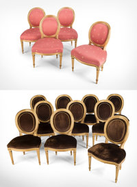 Fourteen Louis XVI and Louis XVI-Style Giltwood and Upholstered Oval Back Side Chairs, circa 1775 and later 33 x 22 x 21...