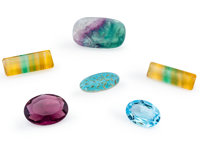 Group of Six Gemstones Various Localities  ... (Total: 6 Items)