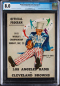 Football Collectibles:Programs, 1951 NFL Championship Game Program (Rams vs. Browns) - CGC 8.0, Pop One with None Higher!...