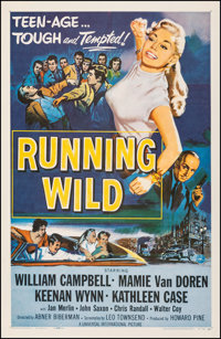 "Running Wild (Universal International, 1955). Very Fine- on Linen. One Sheet (27"" X 41""). Bad Girl. From the C..."
