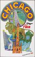 """Movie Posters:Miscellaneous, Chicago: Fly TWA (Trans World Airlines, c.1960s). Rolled, Very Fine. Travel Poster (25"""" X 40"""") David Klein Artwork. Miscella..."""