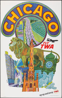 """Chicago: Fly TWA (Trans World Airlines, c.1960s). Rolled, Very Fine. Travel Poster (25"""" X 40"""") David Klein Art..."""