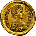 Ancients:Roman Imperial, Ancients: Arcadius, Eastern Roman Empire (AD 383-408). AV solidus (20mm, 4.46 gm, 6h). NGC MS 5/5 - 3/5, brushed.