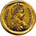 Ancients:Roman Imperial, Ancients: Arcadius, Eastern Roman Empire (AD 383-408). AV solidus (20mm, 4.56 gm, 7h). NGC MS 5/5 - 2/5, punch mark, b...