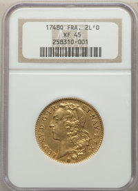 France: Louis XV gold 2 Louis d'Or 1748-Q XF45 NGC