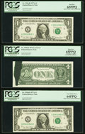 Error Notes:Ink Smears, Green Ink Smear Error with Both Bookends Fr. 1910-K $1 1977A Federal Reserve Notes. PCGS Graded.. ... (Total: 3 notes)