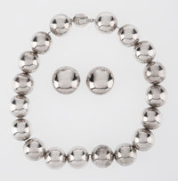 A Tiffany and Company Mexican Silver Necklace and Earrings, circa 1975 Marks: TIFFANY & CO., .925 MEXICO