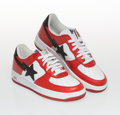 Collectible, BAPE . Foot Soldier (Red/Black), c. 2002. Pair of sneakers. Size 9 . ...