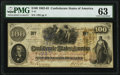 Confederate Notes:1862 Issues, Hodgkinson & Co. Wookey Hole Mill Watermark T41 $100 1862 PF-4 Cr. 314 PMG Choice Uncirculated 63.. ...