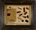 Military & Patriotic:Civil War, Framed Display of Confederate Flag Fragments and Relics.. ...