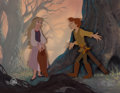 Animation Art:Painted cel background, The Black Cauldron Painted Pan Background with Taran and Eilonwy Production Cel Setup (Walt Disney, 1985)....