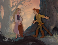 The Black Cauldron Painted Pan Background with Taran and Eilonwy Production Cel Setup (Walt Disney, 1985)