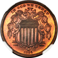 1866 5C Shield Five Cents, Judd-508, Pollock-592, High R.6, PR65 Red and Brown NGC....(PCGS# 70704)