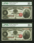 Large Size:Treasury Notes, Fr. 358 $2 1891 Treasury Notes Two Consecutive Examples PMG Choice Very Fine 35 EPQ.. ... (Total: 2 notes)
