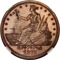 1875 T$1 Commercial Dollar, Judd-1424, Pollock-1567, Low R.7, PR66 Brown NGC. CAC....(PCGS# 61731)