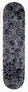 Collectible, Takashi Murakami X ComplexCon. Flowers (Black), 2018. Offset lithograph in colors on skate deck. 32 x 8 inches (81.3 x 2...