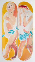 Collectible, Mark Gonzales (b. 1968). Adam and Eve (two works), 2004. Screenprints in colors on skate deck. 32 x 8 inches (81.3 x 20.... (Total: 2 Items)