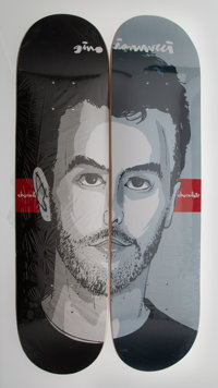 Evan Hecox X Chocolate Gino Ianucci Split Portrait (two works), 2004 Offset lithographs in colors on skate decks 32 x...