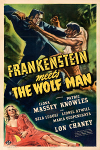 "Frankenstein Meets the Wolf Man (Universal, 1943). Fine+ on Linen. One Sheet (27"" X 41""). Karl Godwin Artwork..."