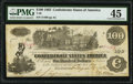 """Confederate Notes:1862 Issues, Manuscript Endorsement """"John S. Sellers"""" T39 $100 1862 PF-13 Cr. 294 PMG Choice Extremely Fine 45.. ..."""