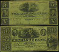 Norfolk, VA- Exchange Bank of Virginia Two Different Branches Fine. Abington $5 Apr. 5, 1855; Alexandria $50 July 13, 18...