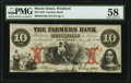 Obsoletes By State:Rhode Island, Wickford, RI- Farmers Bank $10 Aug. 6, 1855 G10a PMG Choice About Unc 58.. ...