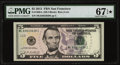 """Small Size:Federal Reserve Notes, Fr. 1996-L $5 2013 Federal Reserve Note with """"Radar"""" Serial Number 83633638. PMG Superb Gem Unc 67 EPQ*.. ..."""