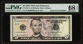 "Fr. 1994-L $5 2009 Federal Reserve Note with ""Radar"" Serial Number 86666668. PMG Superb Gem Unc 68 EPQ"