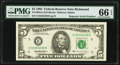 "Fr. 1984-E $5 1995 Federal Reserve Note with ""Super Repeater"" Serial Number 32323232 . PMG Gem Uncirculated 66..."