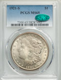 Morgan Dollars: , 1921-S $1 MS65 PCGS. CAC. PCGS Population: (1315/124). NGC Census: (751/64). CDN: $450 Whsle. Bid for problem-free NGC/PCGS...