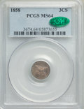 Three Cent Silver: , 1858 3CS MS64 PCGS. CAC. PCGS Population: (145/120). NGC Census: (171/73). MS64. Mintage 1,604,000. ...