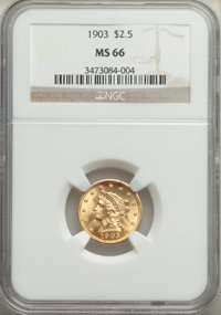 1903 $2 1/2 MS66 NGC. NGC Census: (300/93). PCGS Population: (331/84). MS66. Mintage 201,000. ...(PCGS# 7855)