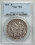 Morgan Dollars: , 1893-CC $1 VF30 PCGS. PCGS Population: (445/5327). NGC Census: (234/2564). CDN: $600 Whsle. Bid for problem-free NGC/PCGS V...