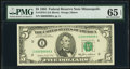 Fancy Serial Number 00099909 Fr. 1978-I $5 1985 Federal Reserve Note. PMG Gem Uncirculated 65 EPQ