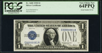 Low Serial Number 81 Fr. 1600 $1 1928 Silver Certificate. PCGS Very Choice New 64PPQ
