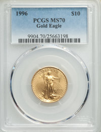 1996 $10 Quarter-Ounce Gold Eagle MS70 PCGS. PCGS Population: (56). NGC Census: (297). CDN: $1,000 Whsle. Bid for proble...