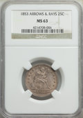 1853 25C Arrows and Rays MS63 NGC. NGC Census: (86/196). PCGS Population: (99/219). MS63. Mintage 15,210,020. ...(PCGS#...
